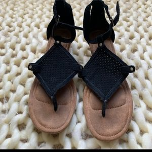UGG Black and Brown Strappy Sandals